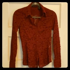New York & C0 Burgundy Lace button up